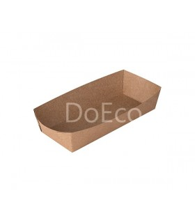 Tavă Biodegradabilă-Reciclabilă Hot Dog și Cartofi Prăjiți, ECO HD Pure Kraft, 165x70x40 mm, set 100 bucăți