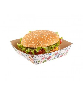 Tăviță cartofi prăjiți sau burger ECO TRAY 550 Enjoy, 139x139x42 mm (set 300 bucăți)