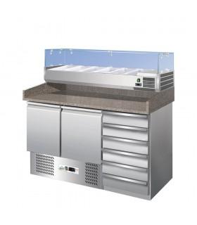 Masă frigorifică preparare pizza 2 uși & sertare S903PZCAS
