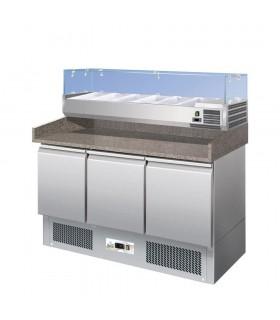 Masă frigorifică preparare pizza, blat granit, 3 uși G-S903PZ