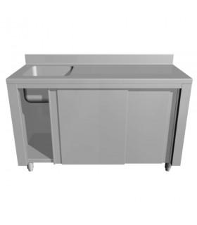 Masă de lucru cu spălător stânga și dulap uși culisante - adâncime 600 mm
