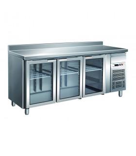 Masă frigorifică GN3200TNG 3 uși cu vitrină, rebord adâncime 700 mm