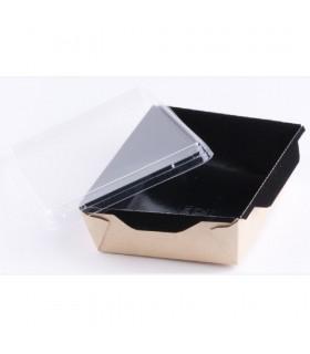 Cutie Salată 500 ml Biodegradabilă-Reciclabilă cu Capac Plastic Transparent, ECO OPSALAD BE 500, 165x120x45 mm (set 300 bucăți)