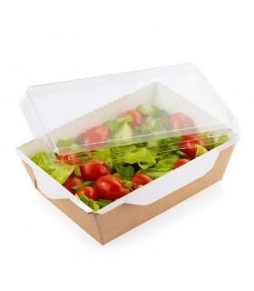 Cutie Salată 800 ml Biodegradabilă-Reciclabilă cu Capac Plastic Transparent, ECO OpSalad 800, 207x127x55 mm, set 100 bucăți