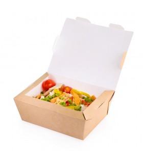 Cutie Alimente 1000 ml Biodegradabilă-Reciclabilă, ECO LUNCH BOX 1000, 190x150x50 mm, set 100 bucăți