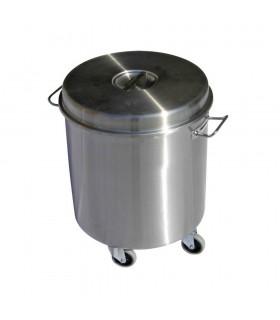 Coș de gunoi din inox, capac detașabil 50 litri
