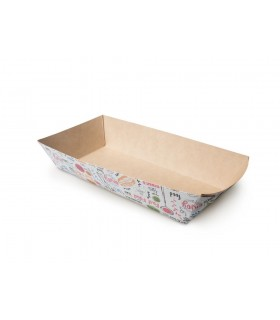 Tăviță Fast-Food și Street Food, ECO TRAY 800 ENJOY, 115x220x42 mm (set 300 bucăți)