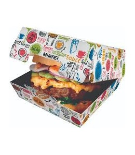 Cutie Burger Biodegradabilă-Reciclabilă ECO BURGER M Enjoy, 115x115x60 mm (set 150 bucăți)