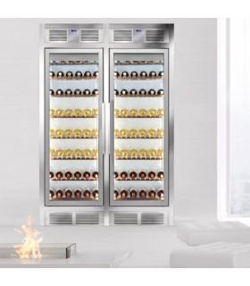 Vitrină frigorifică vinuri, verticală dublă încorporabilă în perete, Silfer WALL