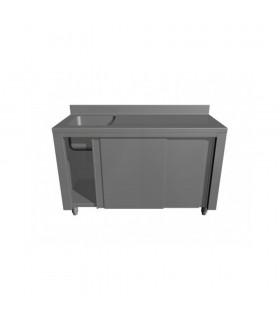Masă inox de lucru cu spălător, dulap închis și poliță interioară 1100x600x850 mm