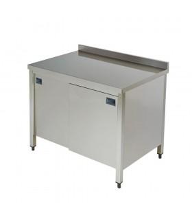Masă de lucru cu dulap, uși culisante, poliță interioară și rebord 1200x600x850hmm DD612