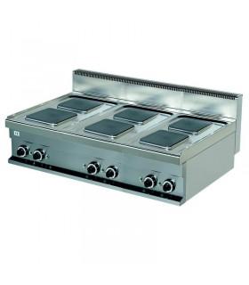 Mașină de gătit electrică de banc 6 plite pătrate linia 700