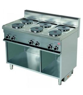 Mașină de gătit electrică 6 plite rotunde dulap deschis linia 700