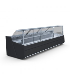 Vitrina frigorifica fara agregat carne si lactate Samos Deep 3.75+1.56/modC, L5400mm, panouri exterioare negre