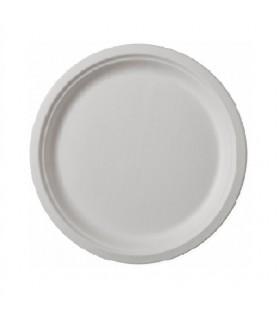 Farfurie albă 22 cm din Trestie de zahăr, Biodegradabilă, Compostabilă (set 50 bucăți)